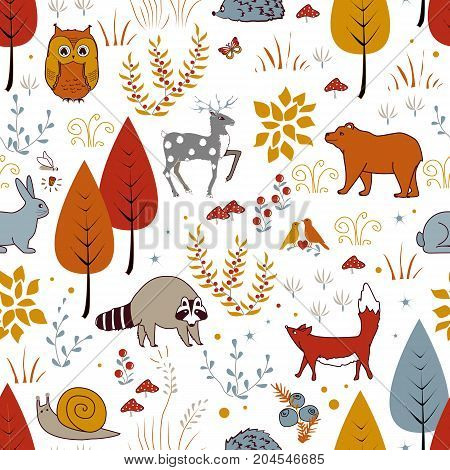 Cute vector seamless pattern with forest plants, birds, bear, deer, raccoon, and fox. Kids autumn background. Vector illustration
