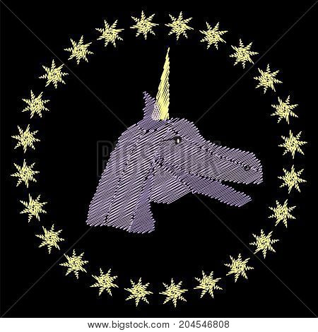 Unicorn head embroidery on black background. Stock vector illustration of fantasy fairytale creature in folk fashion ornament for clothes decoration in girly style.