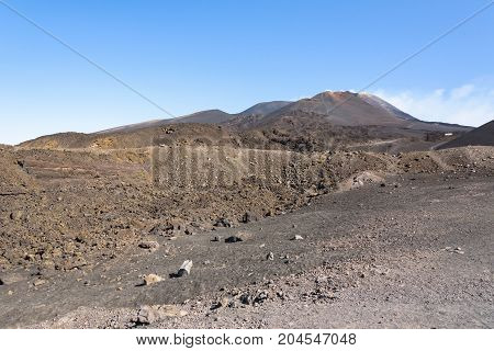 Lunar landscape of the Mount Etna Sicily Italy