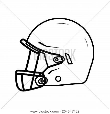 American football helmet, side view. Thin line drawning. Stock vector illustration.