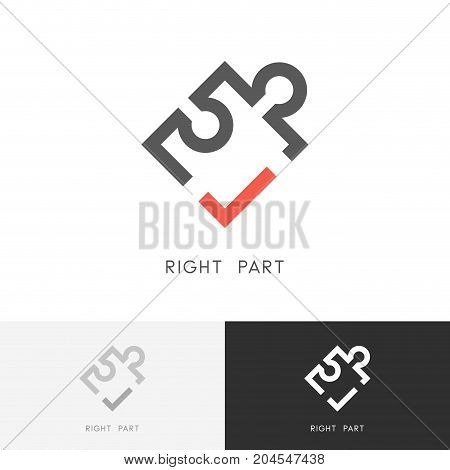 Right part logo - puzzle piece with red check mark or tick symbol. Jigsaw, detail or element vector icon.