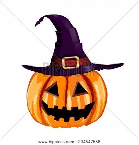 Scary Jack O Lantern halloween pumpkin with witch hat vector