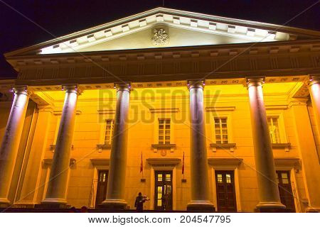 VIlnius, Lithuania - January 04, 2017: Town Hall Square in Old Town at night of Vilnius, Lithuania, Baltic states.
