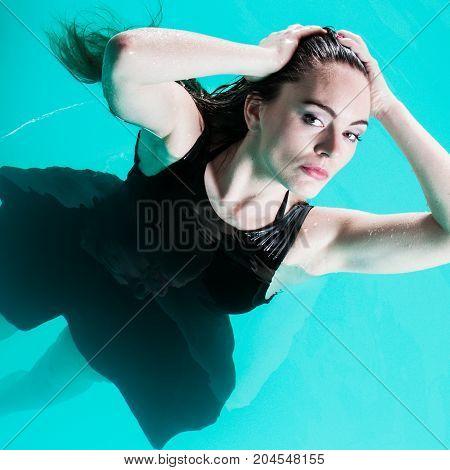 Sexual Posing Woman In Water.