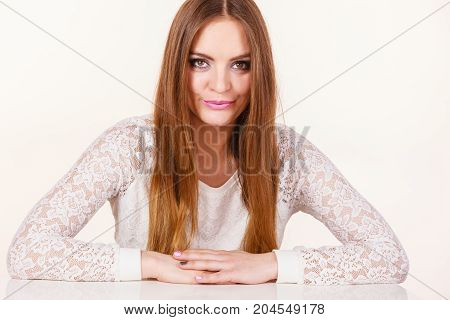 Beauty of feminince concept. Portrait of happy positive attractive woman with long brunette hair.