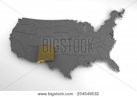United states of America, 3d metallic map, whith New Mexico state highlighted. 3d render