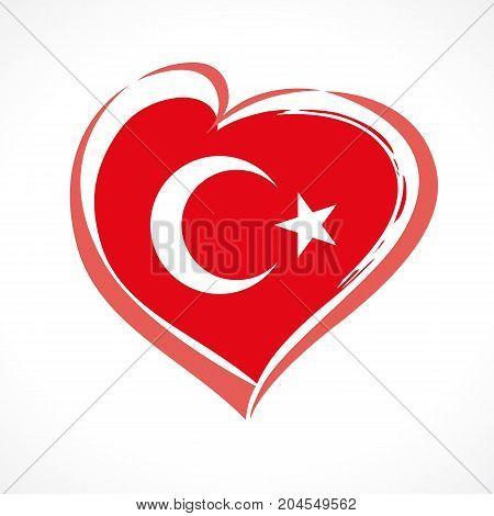 29 ekim Cumhuriyet Bayrami, Republic Day in Turkey. Love Turkey flag emblem. Celebration banner with vector curving red heart and flag