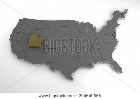 United states of America, 3d metallic map, whith utah state highlighted. 3d render