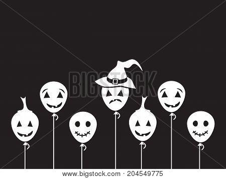 Halloween White Balloons on black background. Vector Illustration. Simple Icon Vector. eps10.