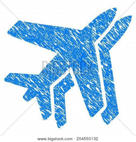 Grunge Airlines icon with grunge design and scratched texture. Unclean vector blue airlines pictogram for rubber seal stamp imitations and watermarks. Draft emblem symbol.