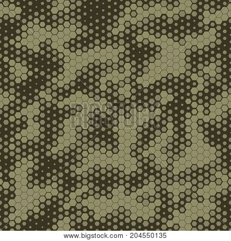 Military Camouflage Seamless pattern, Hexagonal grid background. Fashionable abstract geometric Snake skin style Green camo. Vector