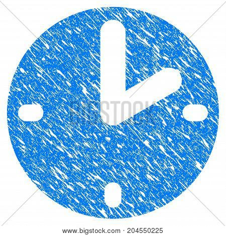 Grunge Clock icon with grunge design and dust texture. Unclean vector blue clock pictogram for rubber seal stamp imitations and watermarks. Draft sticker symbol.