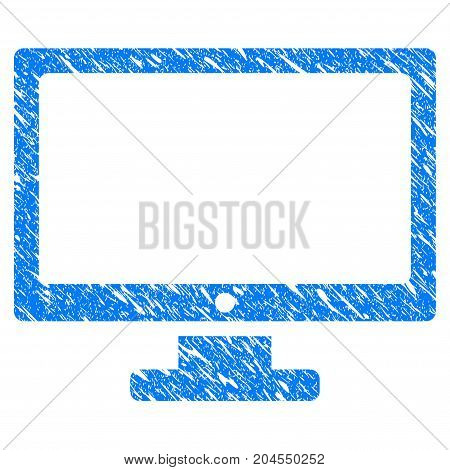 Grunge Computer Display icon with grunge design and unclean texture. Unclean vector blue computer display pictogram for rubber seal stamp imitations and watermarks. Draft sticker symbol.