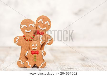 Christmas decoration with Happy Gingerbread man family with kid