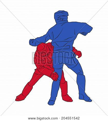 Two adult male Combat Sambo fighters during competition. Red combatant ducking a punch and aiming to grab his blue opponent by the waist to topple him. Concept for Russian self-defense training.