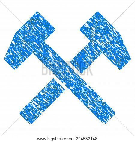 Grunge Work Hammers icon with grunge design and unclean texture. Unclean vector blue work hammers pictogram for rubber seal stamp imitations and watermarks. Draft sign symbol.