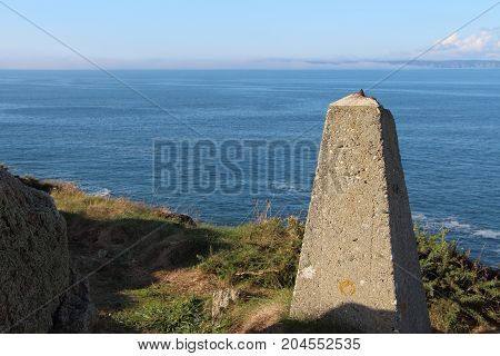 Beacon near the sea on breton coast