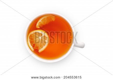 Tea with lemon in a white mug on a white background isolation