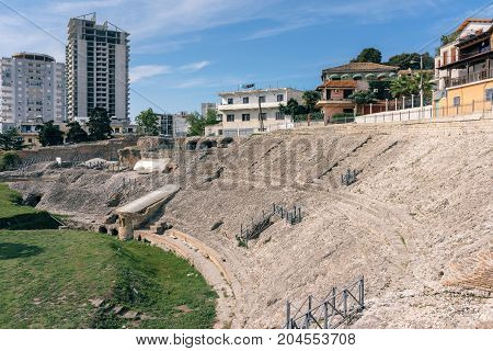 Durres Albania. Durres was called Dyrrachium during the Roman times. Ruins of the Roman amphitheatre in the centre of Durres