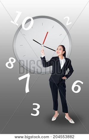 Young Buisnesswoman with finger point up on white background