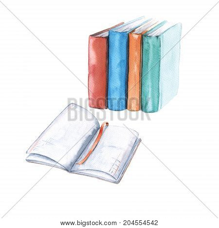 Notebooks and textbooks. Isolated on white background. Watercolor illustration