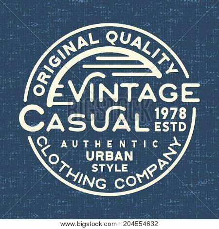 T-shirt print design. Casual vintage stamp for denim t shirt. Printing and badge, applique, label, t-shirts, jeans, casual and urban wear. Vector illustration.