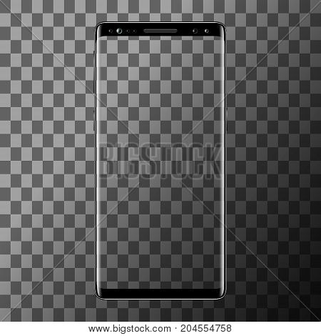 Smartphone isolated on transparent background. Mobile phone with blank screen. Cell phone mockup design. Vector illustration.