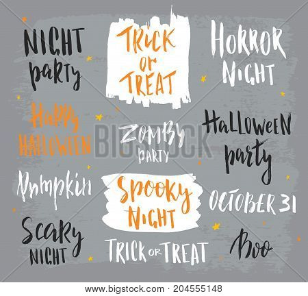Happy halloween lettering. Hand drawn abstract handwritten modern calligraphy. Vector illustration.