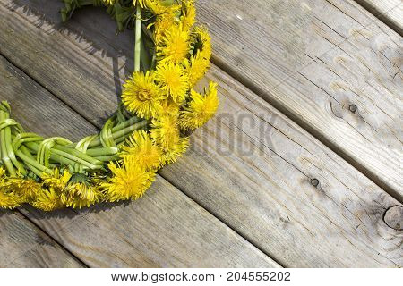 Wreath Of Yellow Spring Flowers - Dandelions On A Wooden Background, Romantic Spring Summer Mood