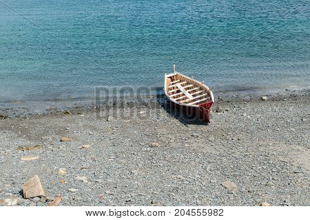 Rowboat on a rocky beach Bar Harbor Mount Desert Island Maine
