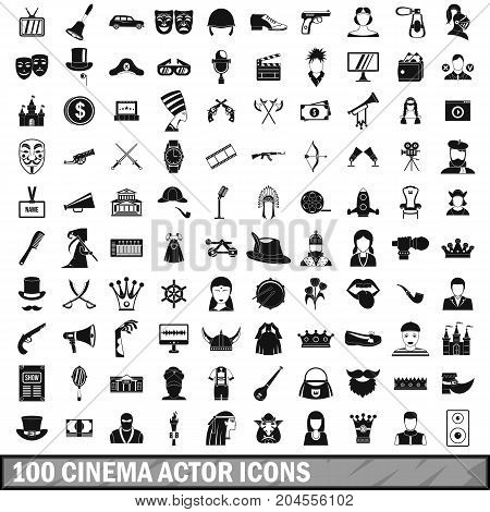 100 cinema actor icons set in simple style for any design vector illustration