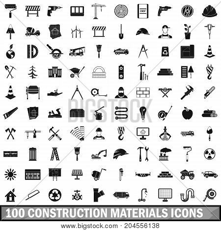 100 construction materials icons set in simple style for any design vector illustration