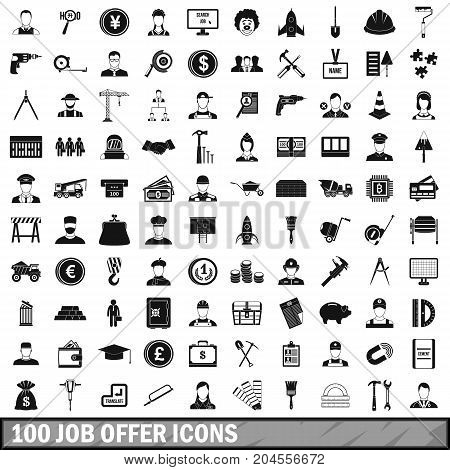 100 job offer icons set in simple style for any design vector illustration