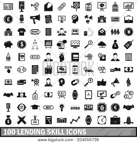 100 lending skill icons set in simple style for any design vector illustration