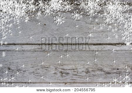 Blue gray wood texture with snow christmas background