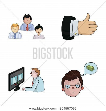 Videoconference, business thoughts, a badge of okay.Bizneskonferentsiya and negotiations set collection icons in cartoon style vector symbol stock illustration .