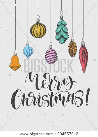 Merry Christmas greeting card with hand drawn sketch toys. Vector illustration. Vintage style. Handwritten phrase. Holiday poster.