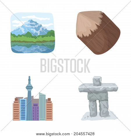 Lakes, mountains, the tower of SI-EN and other symbols of Canada.Canada set collection icons in cartoon style vector symbol stock illustration .