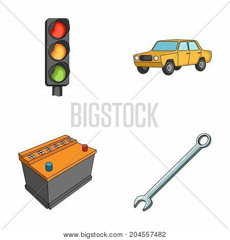 Traffic light, old car, battery, wrench, Car set collection icons in cartoon style vector symbol stock illustration .