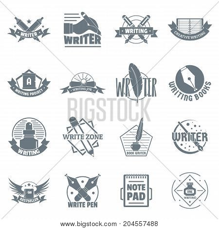 Write logo icons set. Simple illustration of 16 write logo vector icons for web