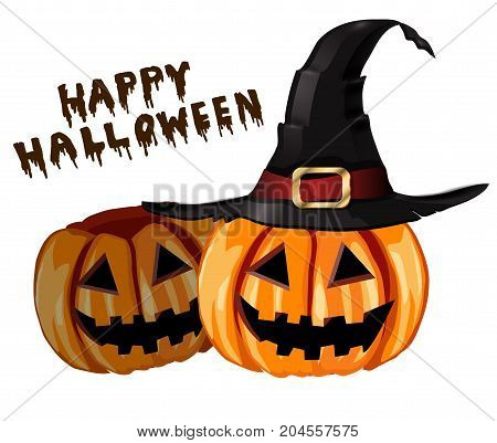 Scary Jack O Lantern halloween pumpkins with witch hat vector