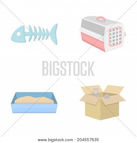 Fish bone, container for an animal, cat's toilet, cat in a box. Cat set collection icons in cartoon style vector symbol stock illustration .