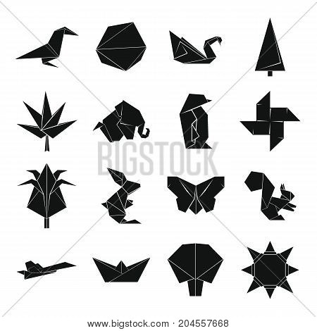 Origami icons set. Simple illustration of 16 origami vector icons for web