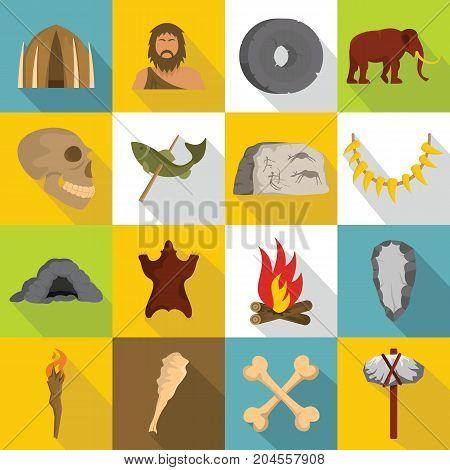 Caveman icons set. Flat illustration of 16 caveman vector icons for web
