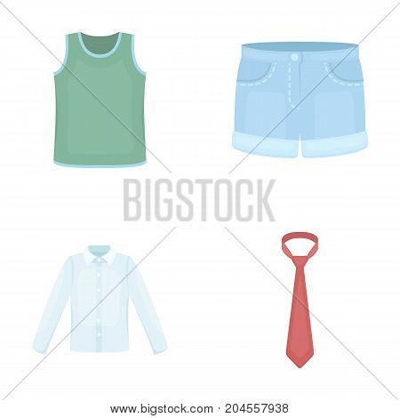 Shirt with long sleeves, shorts, T-shirt, tie.Clothing set collection icons in cartoon style vector symbol stock illustration .