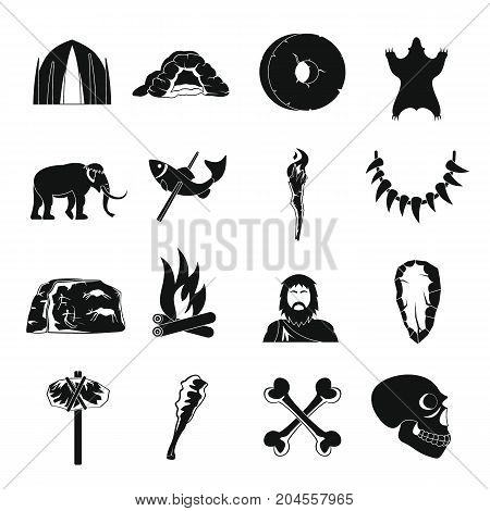 Caveman icons set. Simple illustration of 16 caveman vector icons for web