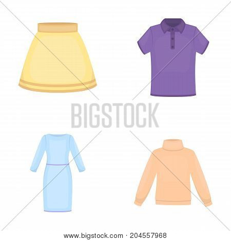 Skirt, t-shirt, sweater, dress with long sleeves.Clothing set collection icons in cartoon style vector symbol stock illustration .