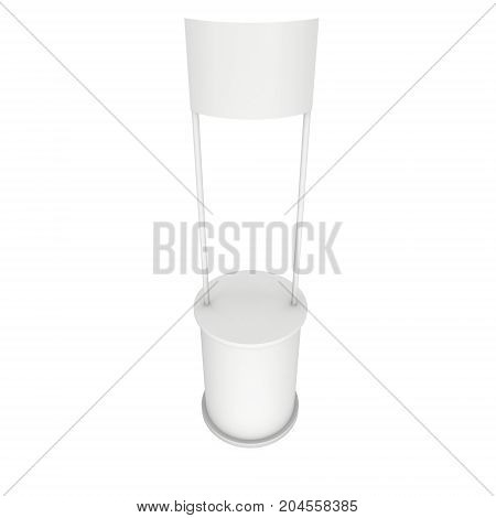 Stall or Kiosk Modern Promostand Reception Desk. Trade show booth white and blank. 3d render illustration isolated on white background. Template mockup for your expo design.