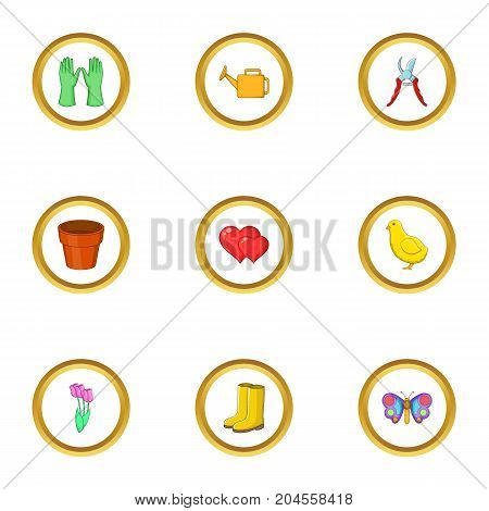 Spring garden icons set. cartoon style set of 9 spring garden vector icons for web design