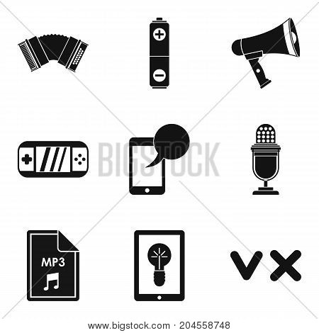 Music genre icons set. Simple set of 9 music genre vector icons for web isolated on white background